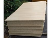 5 Pieces of NEW 18mm EGGAR. Oak Melamine Faced, High Density Commercial Chipboard 81in X 39in