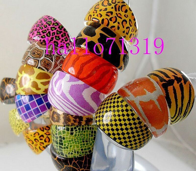 60 Animal Skin Mixed Fashion party bags Resin Rings Wholesale Jewelry Lots