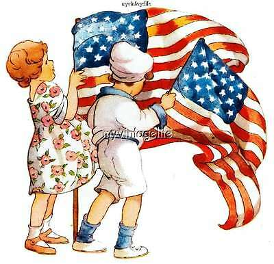 4th of July Children with American Flags Patriotic Quilting Fabric Block