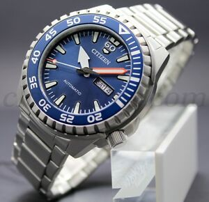Nuovo-Citizen-Of-Automatic-NH8389-88L-Acciaio-Dive-039-s-10Bar-Men-Mares-Steel-Sub
