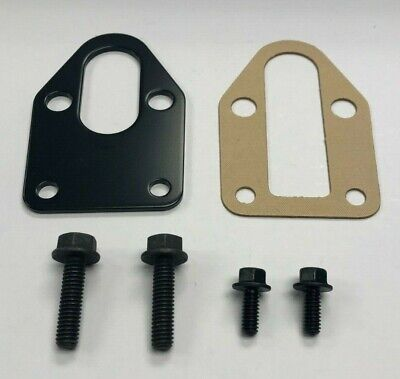 Fuel Pump Mounting Plate - SBC Black Fuel Pump Mounting Plate Gasket + Bolts 283-400 SB Chevy Grade 8 Bolts