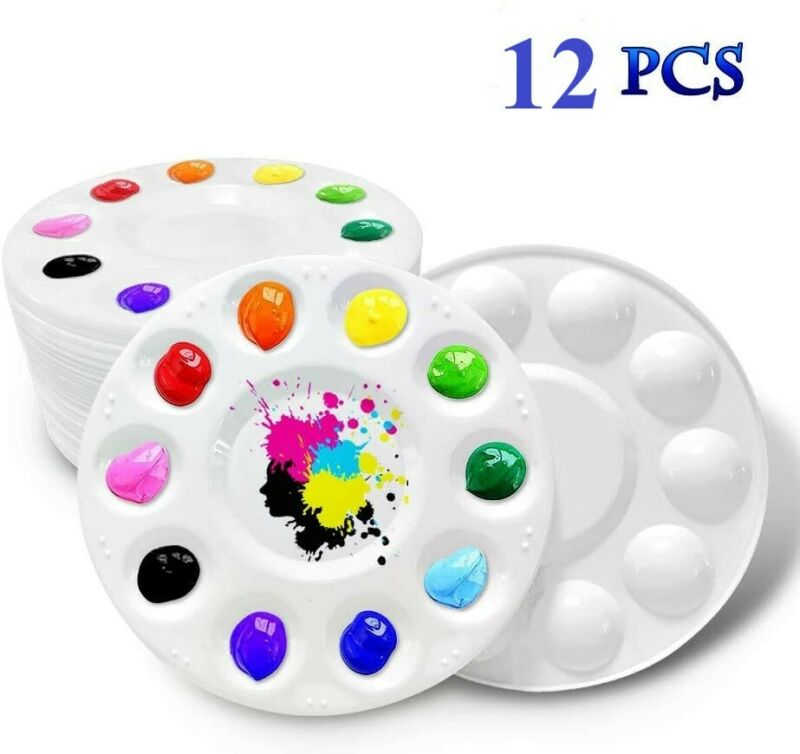 12x Round Paint Tray Palettes Plastic for Acrylic Oil Watercolor Craft DIY Art