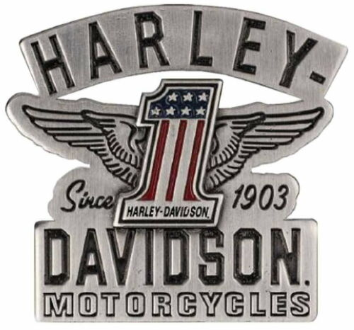 HARLEY DAVIDSON® DIE CAST RED WHITE BLUE USA #1 WINGS VEST PIN PATRIOTIC