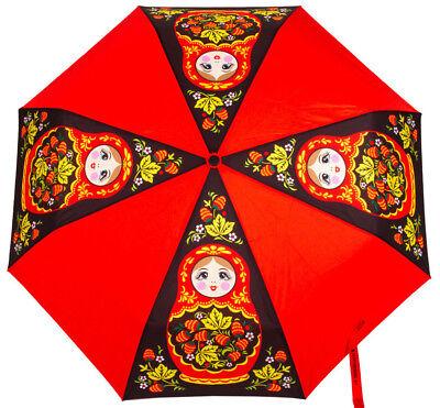 Umbrella Semi Automatic Red Black Strawberry High Quality Khokhloma Nesting Doll