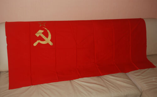 1 x SOVIET BIG FLAG. RED COTTON. GENUINE. MADE IN USSR. EXCELLENT CONDITION.