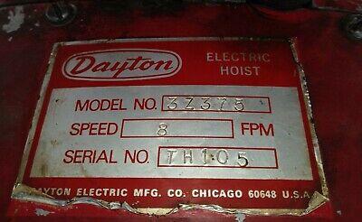 Dayton 3z375 2 Ton 230 3 Phase Electric Chain Hoist