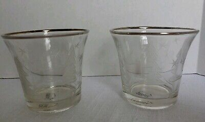 Yankee Candle Clear Glass Christmas Votive Holder Etched Tree Snowflakes set 2
