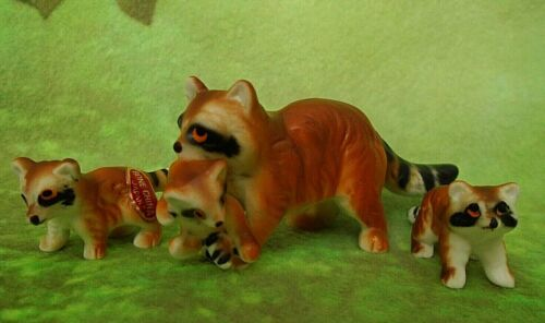 Vintage Hi Style Bone China Miniature Figurines Raccoon Family Set of 3