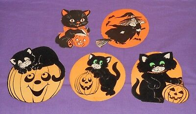 vintage lot of 5 HALLOWEEN DECORATIONS (some flocked) black cats pumpkins witch