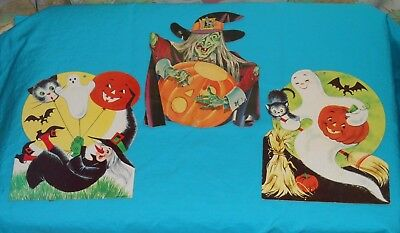 vintage HALLOWEEN DECORATIONS LOT x3 Eureka ghost & witch + Dennison witch