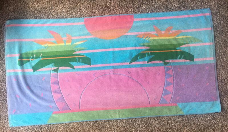 "Vintage Royal Terry Beach Towel Palm Tree Island Sunset Colorful 30""x60"""