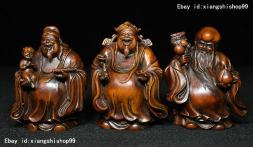 Chinese Taoism Boxwood Wood Carved 3 Longevity God Fu Lu Shou Life Statue Set