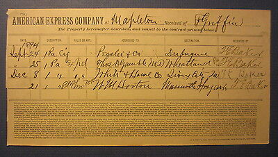 Old 1894 - American Express Co. - MAPLETON - Receipt Document