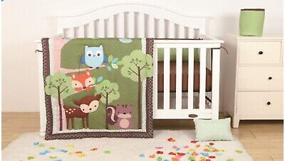 FOREST ANIMALS BABY BOYS 4 PCS NURSERY CRIB BEDDING SET GIFT FOR BABY SHOWER