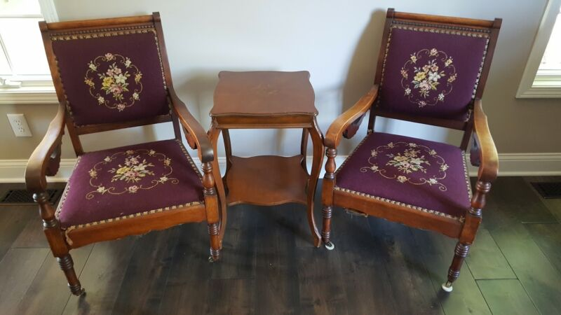 RARE:  Pair of Antique Embroidered Carved Wooden Chairs