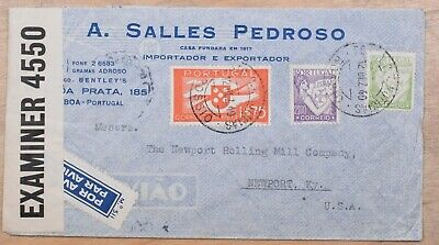 Portugal to Newport KY 1940 Censored Tri Frank Airmail cover