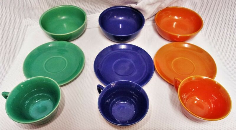 9 pc LOT Padre California Pottery Dishes Bowls Cups 1930