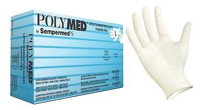 Latex Exam Gloves, Powder Free, Polymed® by Sempermed 5.0 mil, 1 box/100 XS-XL