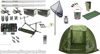 Full Carp Fishing Set Up Kit Rods Reels Alarms & Tackle Mat Shelter Net etc