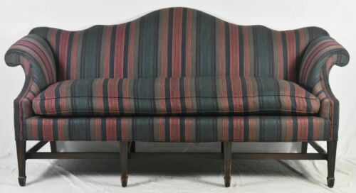 Mahogany Chippendale Style Serpentine Camel Back Sofa Williamsburg Style
