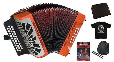 Hohner Compadre MAKE OFFER GCF Sol Orange Acordeon Accordion +DVD_Bag_TShirt_Pad