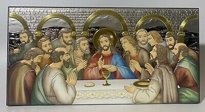 Silver Plated colorful Icon of The Last Supper (Made in Italy)