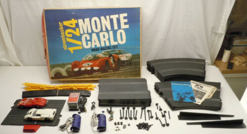 Strombecker Monte Carlo Ferrari Ford w Monza Curve 1/24 Slot Car Race Set #6840