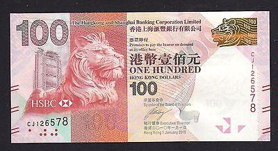Hong Kong  100 Dollars  2010  Hsbc Bank P214a   Unc