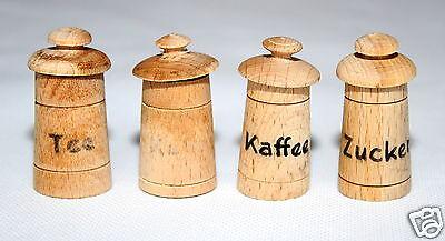 Puppenstubenzubehör 4 x Vorratsdose Vorratsdosen aus Holz