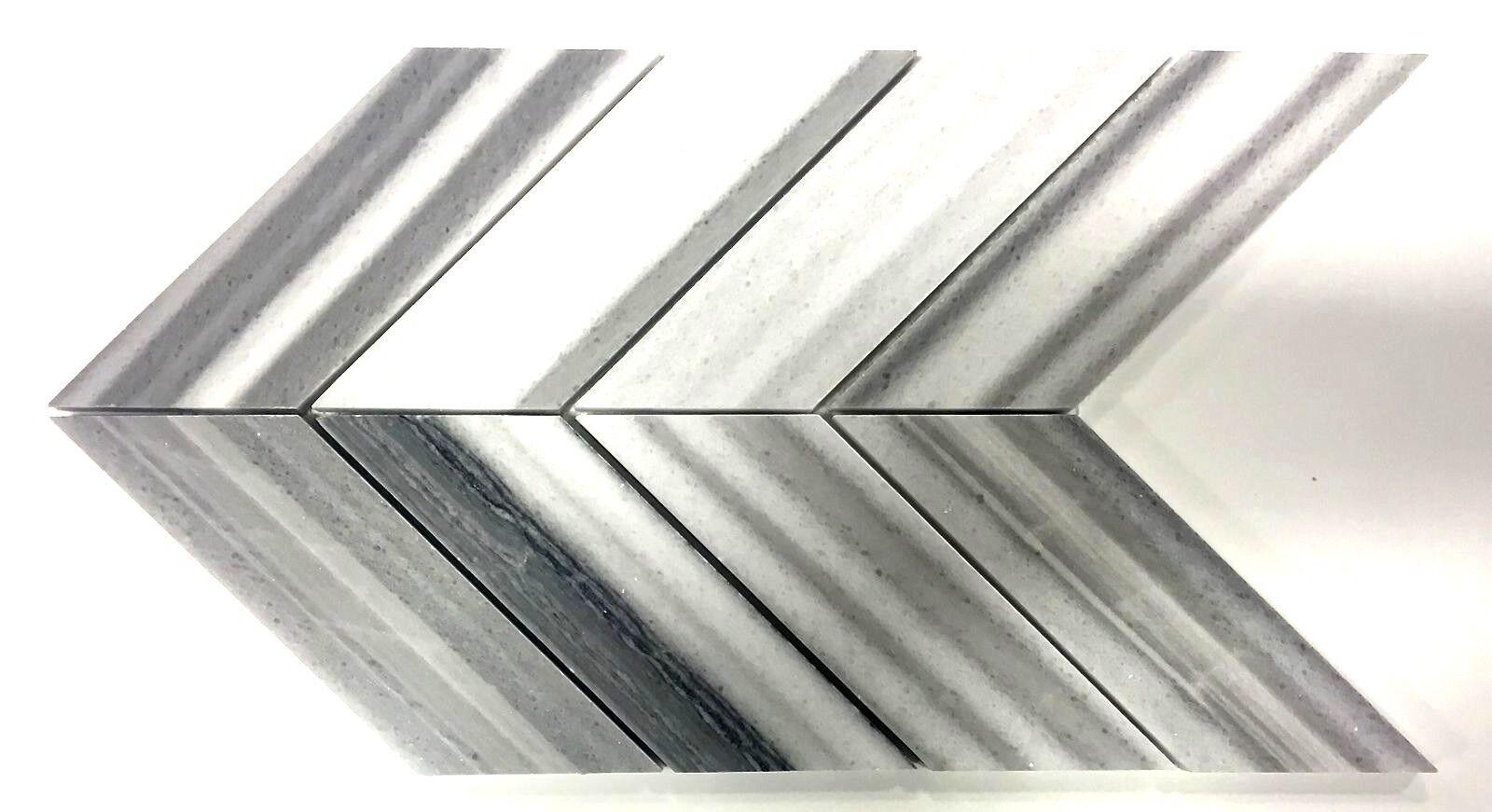 Gray Silver Chevron Marble 9X15 Mosaic Wall and Floor Tile Backsplash Bath