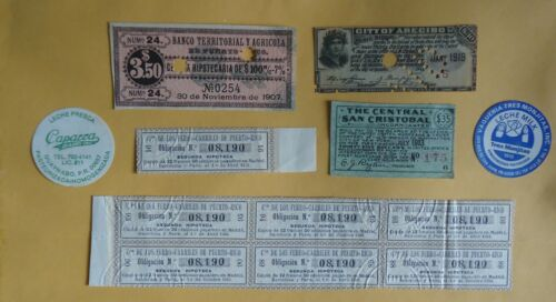 PUERTO RICO LOT OF SEVEN PIECES OF BOND COUPONS & PAPERS