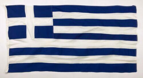 Vintage Sewn Cotton Nautical Greek Flag Handmade Greece Distressed Used Old 2x4