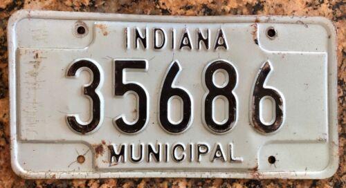 Vintage Indiana Municipal License Plate 35686 Blue