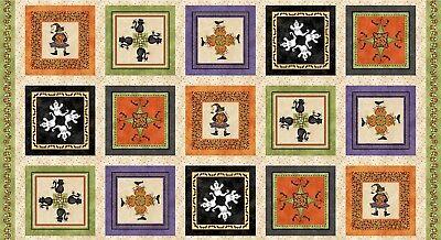 "HALLOWEENIE Kaleidoscope Border Quilt Fabric Panel 24"" x 44"" by Maywood"