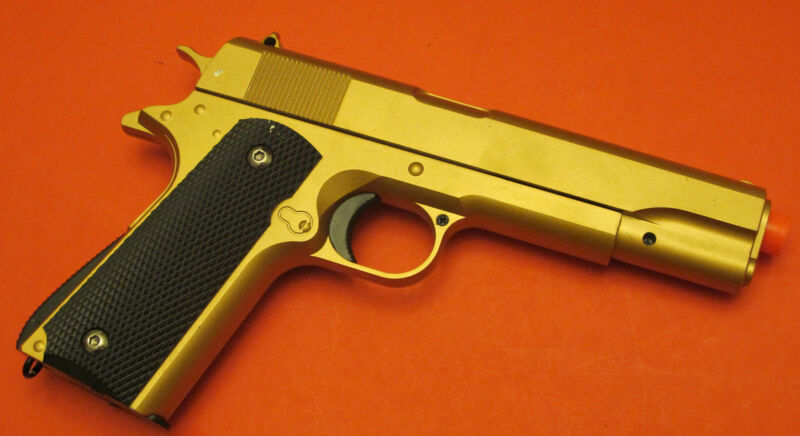 Good Quality 1911 Metal Airsoft Spring Gun Shoot Hard up to 300 FPS Gold Color