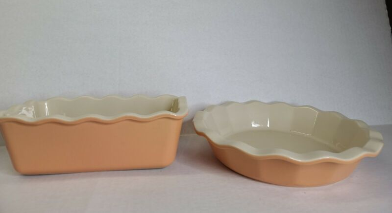Emile Henry Williams Sonoma Ruffled Loaf & 9inch Pie Dish Peach Free Shipping