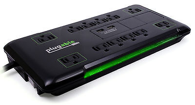 Plugable Surge Protector Power Strip and Extension Cord - 12 Outlet, 2 USB, 25ft ()