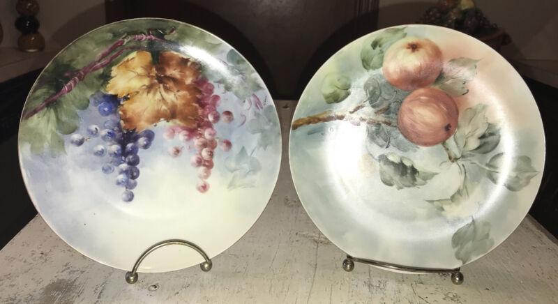 "MZ Austria Hand Painted Fruits 7 1/2"" Porcelain Plates Signed By Artist EUC"