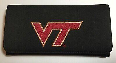 Virginia Tech Hokies Tri Fold Wallet, Removable Checkbook Holder, Mom, Ladies ()