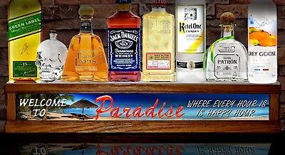 2 Led Liquor Bottle Display Shot Glass Display Welcome To Paradise