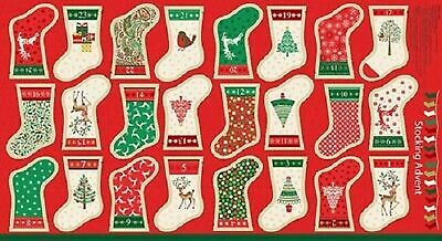 Traditional Metallic Christmas Stocking Panel by Makower UK-24 Advent Stockings