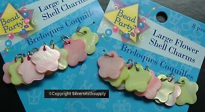 Flower Jump Ring - Dyed Mother of Pearl shell flower charms with jump rings 16pcs CP026