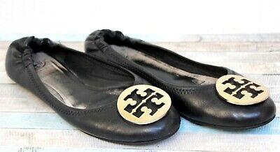 AUTHENTIC TORY BURCH BLACK GENUINE LEATHER GOLD LOGO FLAT BALLET WOMEN SHOES 9M