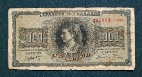 OLD BANKNOTE OF GREECE 1000 DRACHMAS 1942 WORLD WAR II 495883 PH