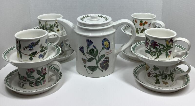 Portmeirion Botanic Garden Set of 8  Coffee Cups Saucers & Coffee Pot