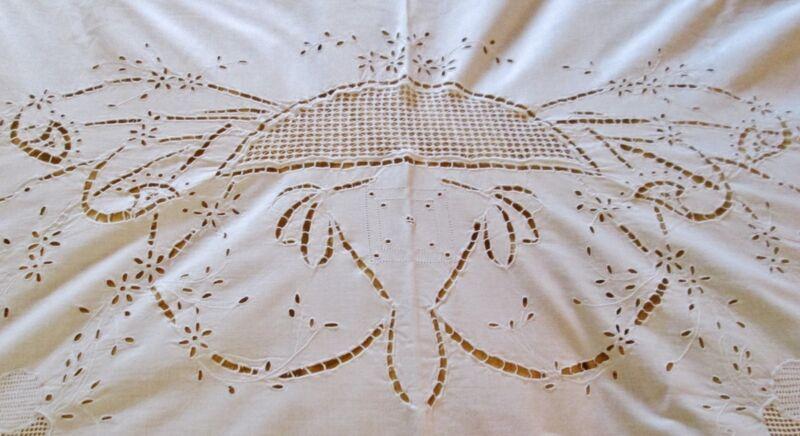 Antique Italian Sheet Eyelet Embroidery Drawnwork Floral Cutouts Trousseau