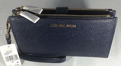 BNWT Michael Kors Adele Pebbled Leather Double Zip Wristlet/Purse - Admiral