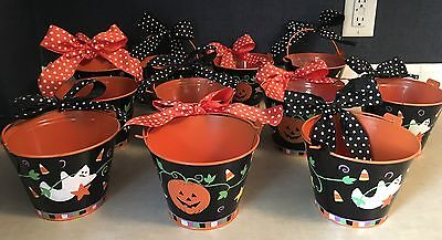 Halloween Tin Buckets With Handle Great Party-Favor Treat Buckets Tabletop - Halloween Buckets