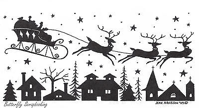 Christmas Silhouette The Rooftop Wood Mounted Rubber Stamp NORTHWOODS  O7159 - Christmas Silhouette