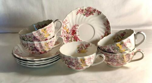 5 Spode Fairy Dell Cups And Saucers